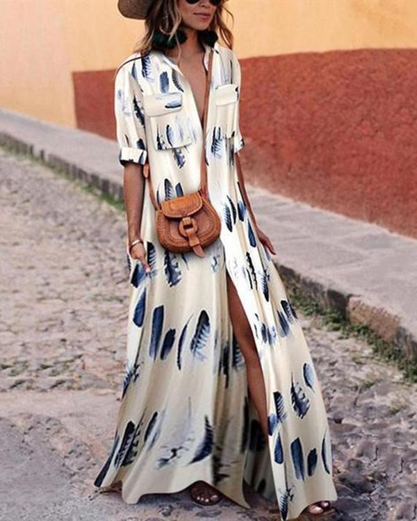 Women Button Down Collar Stripes Half Sleeve Maxi Dress
