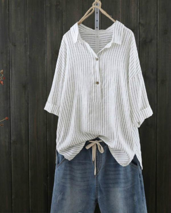 Women Casual Striped V- Neck Button Blouses Tops
