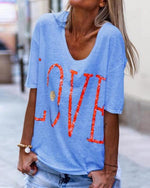 Fashion Short Sleeve Plus Size Printed T-Shirt