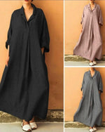 Women Plus Size Solid 3/4 Sleeves Maxi A-line Dress