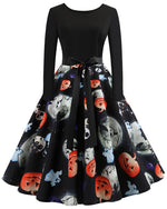 Halloween Pumkin Printed Flare A Line Dresses