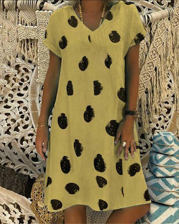 V Neck Women Polka Dot Shift Cotton-Blend Dresses