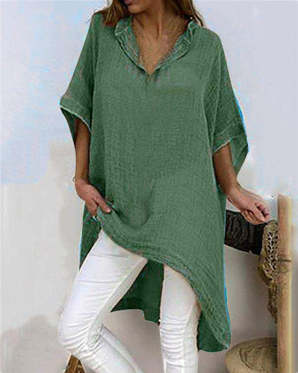Short Sleeve Linen V Neck Shirts & Tops