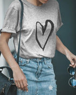 Fashion Casual Loving Printed T-Shirt With Round Collar