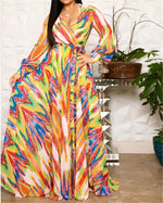 Women V Neck Floral Printed Elegant Party Beach Maxi Dress