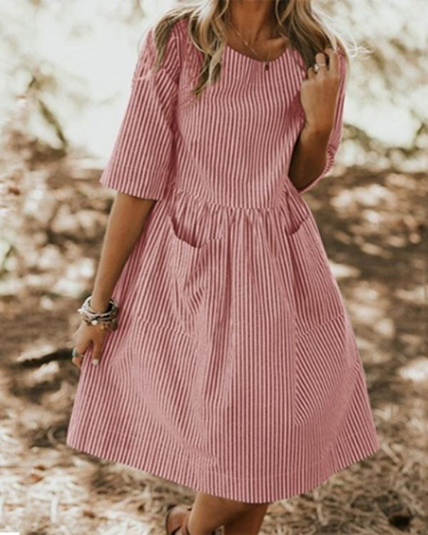 Daily A-Line Crew Neck Half Sleeve Stripe Dresses With Pockets