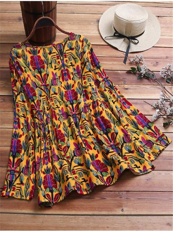 Vintage Folk Style Print Long Sleeve Plus Size Blouse