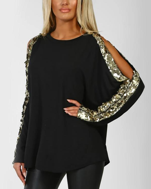 Round Neck Long Sleeved with Cutout Gloss Sequins Top