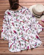 Women Casual Crew neck 3/4 Sleeve Floral Plus Size T-Shirt