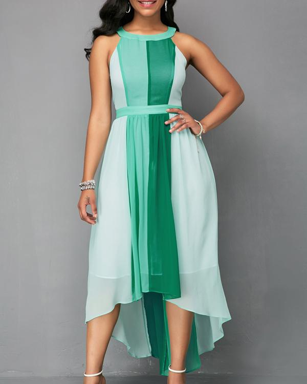 Women's Halter Neck Sleeveless Contrast Color A Maxi Dress