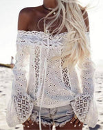 Vintage Off Shoulder Lace Blouse