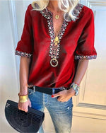 Fashion V-Neck Short Sleeve Casual Shirts Blouses