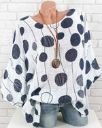 Plus Size Polka Dots Casual Bat Sleeve Blouse