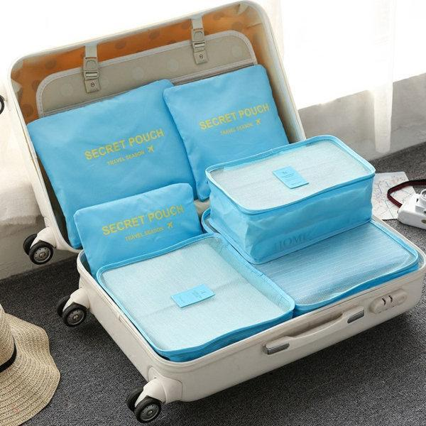 6Pcs Waterproof Cube Travel Storage Bag Luggage Organizer