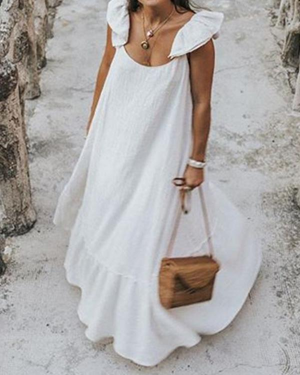 Solid Bohemian Sleeveless Fashion Summer Holiday Maxi Dresses