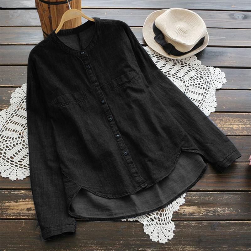 Women Vintage Denim Long Sleeve Shirt Plus Size  Button Down Blouses Tops