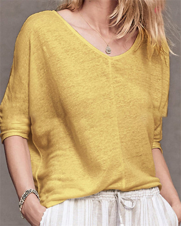 V Neck Solid Soft Casual Holiday Summer Women Daily Tops