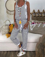 Striped Printed  V Neck Bare Back Sleeveless Jumpsuit