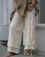 Women Casual Cotton & Linen Solid Color Pants