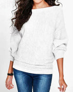 Casual Bateau/boat Neck Cotton Sweater
