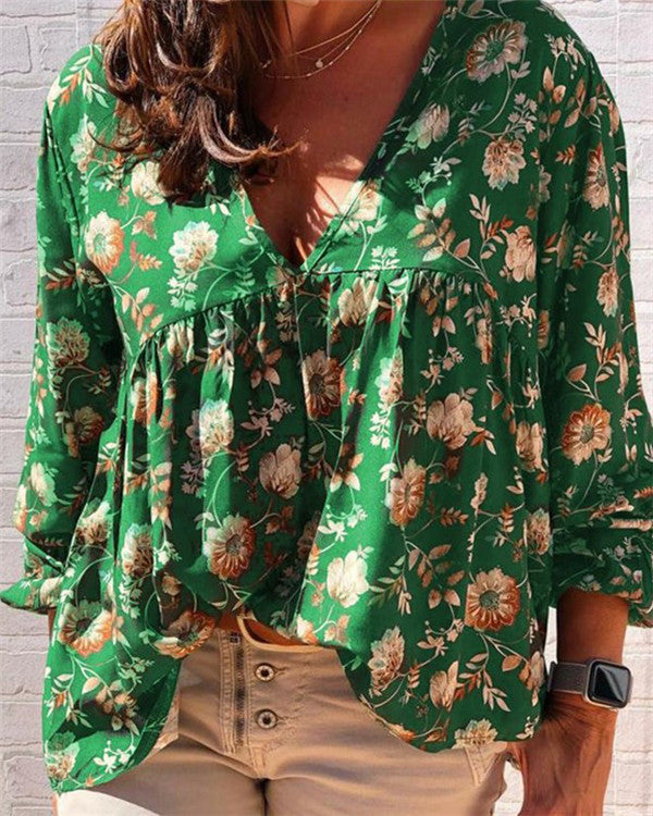 Floral Printed Long Sleeve Casual V Neck Daily Shift Tops