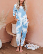 Casual Tie-dye Long Sleeve Two-Piece Suit