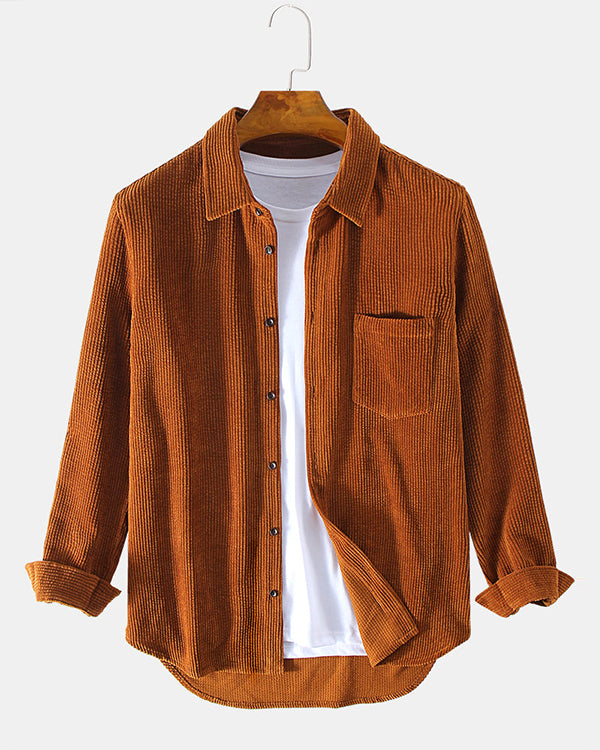 Mens Plain Style Corduroy Solid Color Casual Long Sleeve Shirts