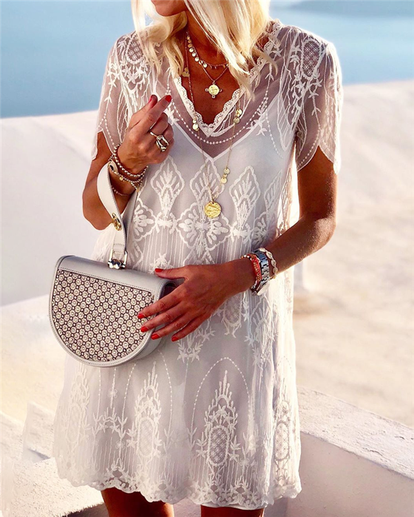 Lace Summer Holiday Daily Fashion Mini Dresses