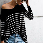 Fashion Round Neck Stripes T-shirts