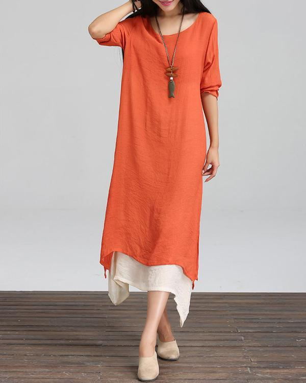 Plus Size Crew Neck Sling Solid Maxi Dress