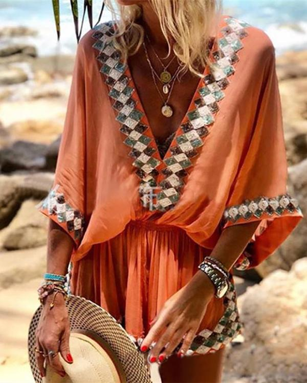 Bohemian V Neck Batwing Sleeve Bare Back Dress