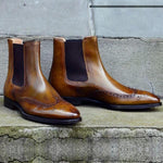 Olive Chelsea Wingtip Boots