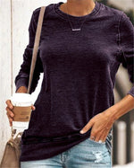 Fashion  Solid  Round Neck Women Casual Shirt &Tops