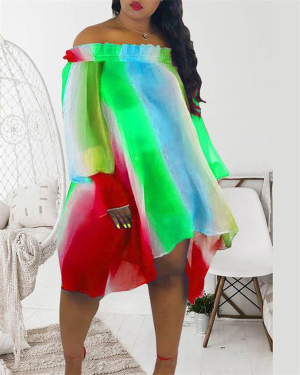 Off Shoulder Plus Size Floaty Colorful Dress