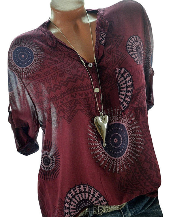 V Neck  Casual Printed Blouse Women Tops