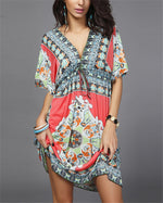 Bohemian Fashion Printed Short Sleeve Mini Dress