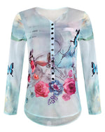 Women's Basic Plus Size Floral Printed Blouse