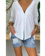 Fashion Button Lace 3/4 Sleeved V Neck Shirts Tops