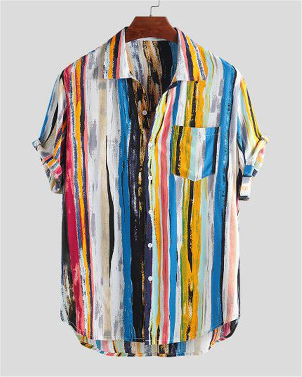 Men's Multi Color Graffiti Chest Pocket Round Hem Loose Shirts