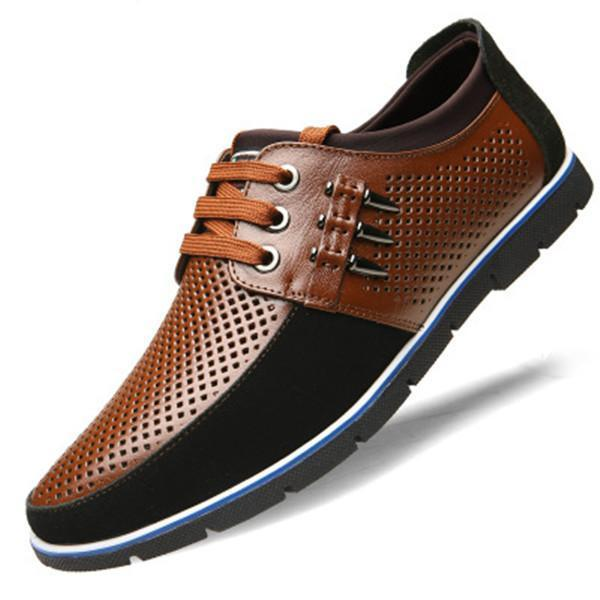 Large Size Genuine Leather Breathable Hole Casual Shoes