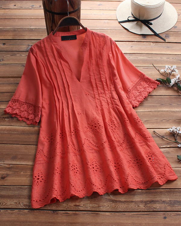Summer V Neck Lace Sleeve Solid Color Plus Size Tops
