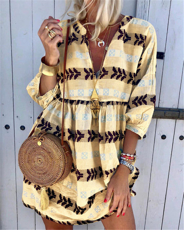 Bohemian V Neck Fashion Summer  Mini Beach Holiday Dresses