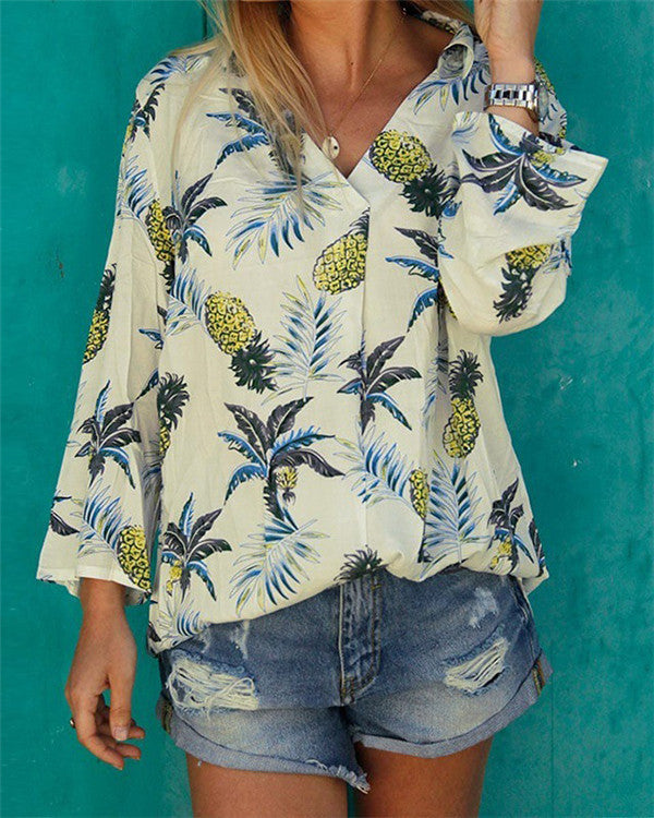 Plus Size  V Neck  Floral Printed Long Sleeve Casual Blouse