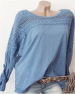 Round Neck Patchwork Hollow Out Blouses