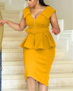 Women  Plus Size Peplum Midi Bodycon Dress