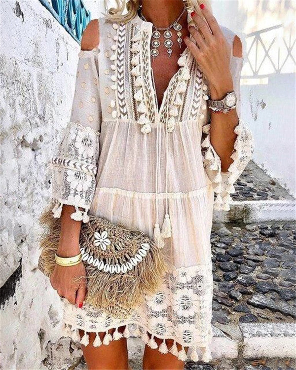 Bohemian Summer Holiday Daily Fashion Short Mini Dresses