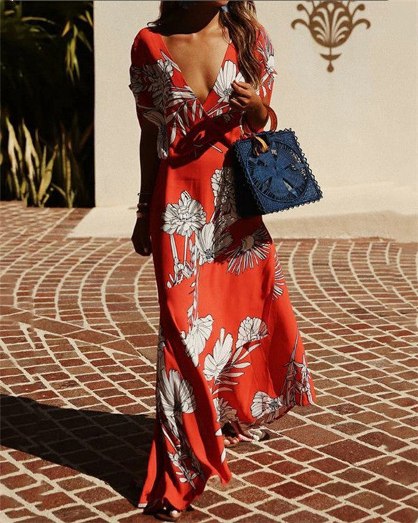 Casual V Neck Printed Short Sleeve Maxi Dress
