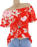 Off Shoulder Floral Printed Blouse Casual Tops T Shirt