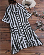 Casual Solid Pocket Stand Collar Short Sleeve Striped Blouses Tops