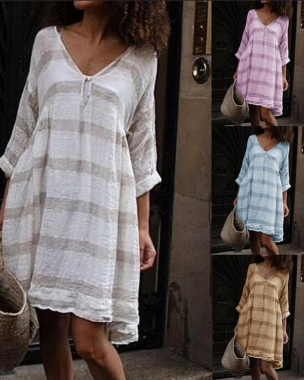 Summer V Neck Long Sleeve Vacation Striped Plus Size Dress